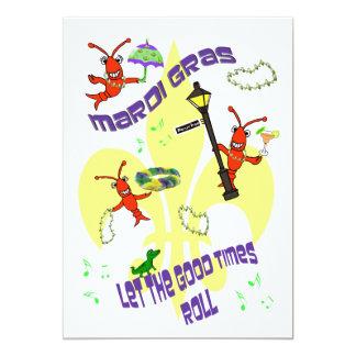 Fleur de Lis Good Times Roll Mardi Gras Party Card