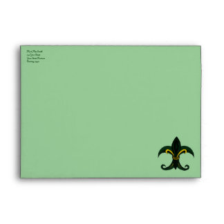 Fleur de lis Green gold Envelopes