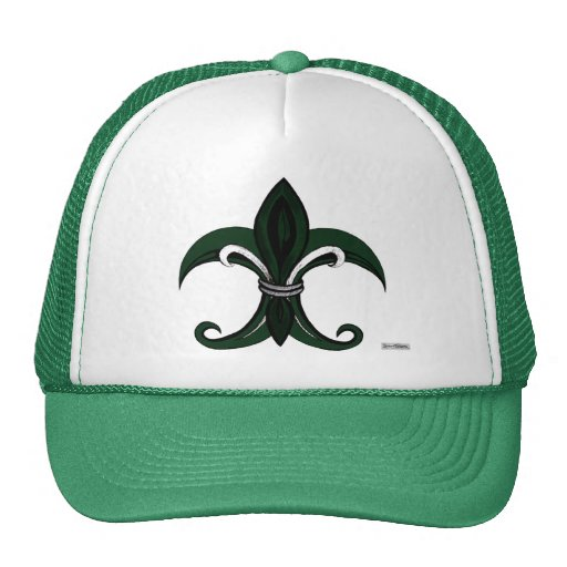 Fleur de lis Green/silver Trucker Hat