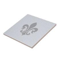 Fleur de Lis Grey Lilac Diamond Pattern Ceramic Tile