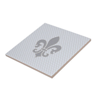 Fleur de Lis Grey Lilac Diamond Pattern Ceramic Tile