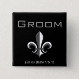 fleur de lis groom grey pinback button