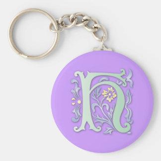 Fleur-de-lis H Monogram Basic Round Button Keychain