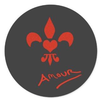 Fleur de Lis Heart Amour Love Stickers