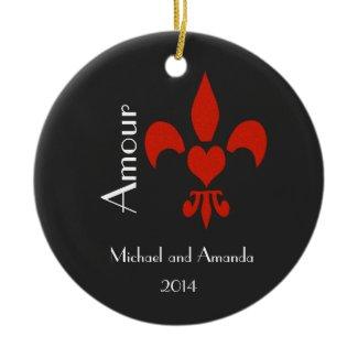 Fleur de Lis Heart Amour Personalized Ornaments