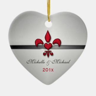 Fleur de Lis Heart Our First Christmas White Ceramic Ornament