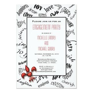"Fleur de lis Heartfelt Expressions Engagement 5"" X 7"" Invitation Card"