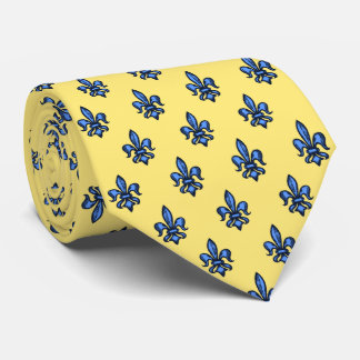 Fleur-de-lis Heraldic Yellow Two-Sided Neck Tie