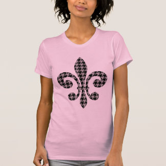 fleur de lis houndstooth in black and grey t-shirts