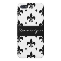 Fleur de Lis in Black and White iPhone SE/5/5s Cover