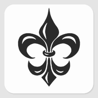 Fleur de Lis in Black Square Sticker