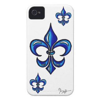 Fleur de Lis in Blue iPhone 4 Case-Mate Cases