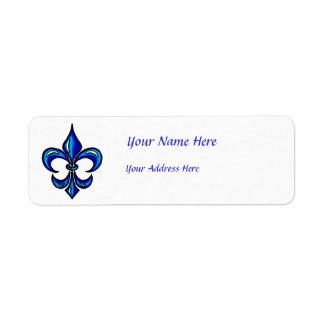 Fleur de Lis in Blue Custom Return Address Labels