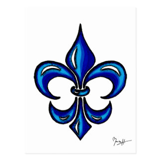 Fleur de Lis in Blue Postcard