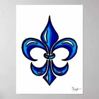 Fleur de Lis in Blue Print