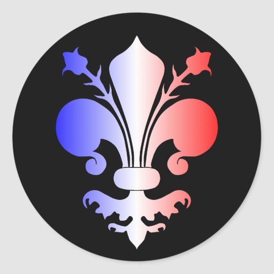 Fleur de lis in blue, white, and red classic round sticker
