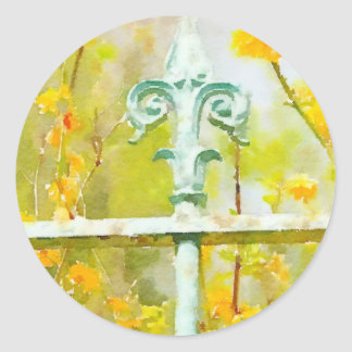 Fleur de lis in Giverny Classic Round Sticker