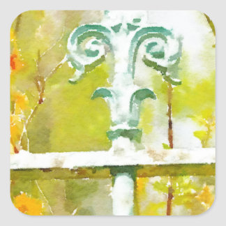 Fleur de lis in Giverny Square Stickers