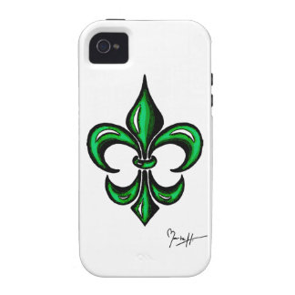 Fleur de Lis in Green Vibe iPhone 4 Cover