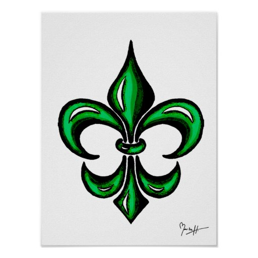 Fleur de Lis in Green Poster