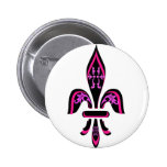 FLEUR DE LIS IN HOT PINK ON BLACK PINBACK BUTTON
