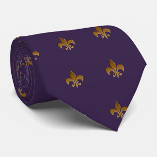 Fleur de lis in plum Zazzle Tie