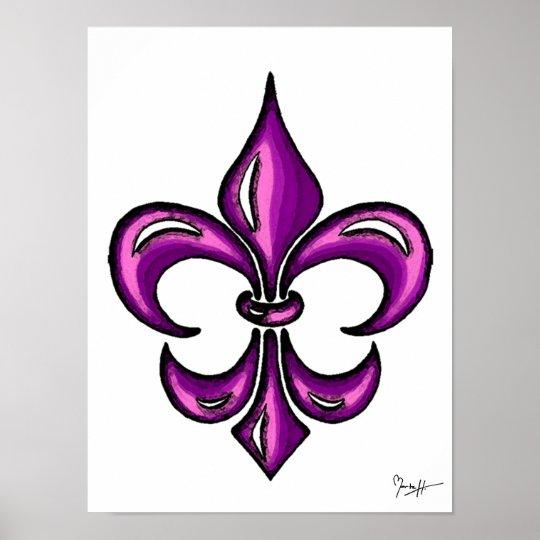 Fleur de Lis in Purple Lavender Poster