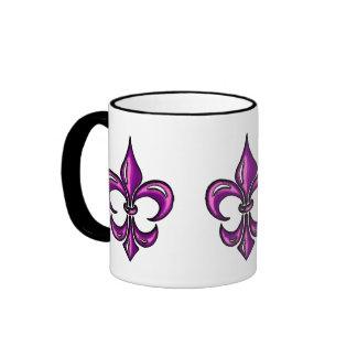 Fleur de Lis in Purple Lavender Ringer Coffee Mug