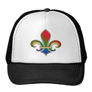 Fleur de Lis in shaded rainbow colors  - 3 Trucker Hat