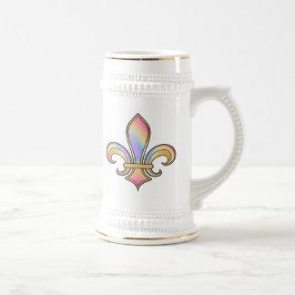 Fleur de Lis in shaded rainbow colors  - 5 Beer Stein
