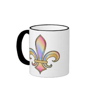 Fleur de Lis in shaded rainbow colors  - 5 Ringer Mug