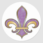 Fleur de Lis in solid color  - Purple Plum Grape Classic Round Sticker