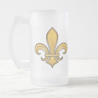 Fleur de Lis in solid color  - Yellow Frosted Glass Beer Mug