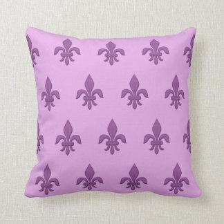 Fleur De Lis In Violet Purple On Lavender Throw Pillow