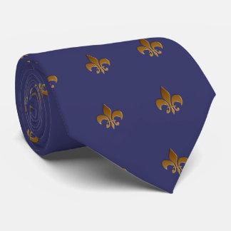 Fleur de lis/indigo blue Tie