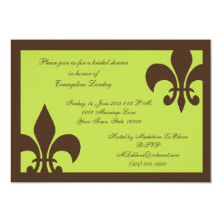 Fleur de Lis Invitations Chocolate and Lime