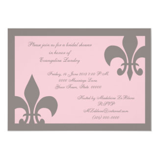 Fleur de Lis Invitations Gray and Light Pink