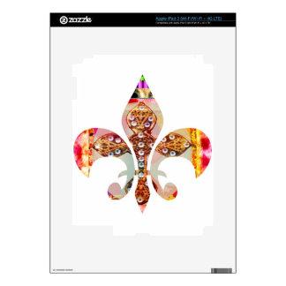 Fleur de lis Jewel Pattern Flowers Floral Gems fun iPad 3 Decal