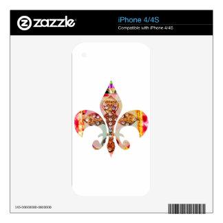 Fleur de lis Jewel Pattern Flowers Floral Gems fun Skins For iPhone 4S
