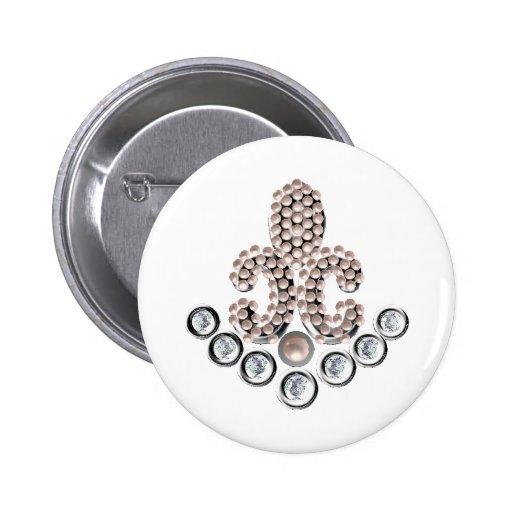 Fleur De Lis-jewelled Buttons