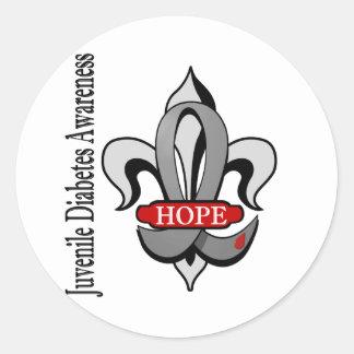 Fleur De Lis Juvenile Diabetes Hope Classic Round Sticker