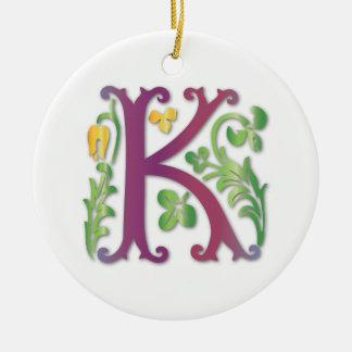 Fleur-de-lis K Monogram Ceramic Ornament