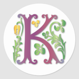 Fleur-de-lis K Monogram Classic Round Sticker