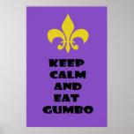 Fleur de Lis Keep Calm Eat Gumbo Purple Poster