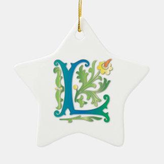 Fleur-de-lis L Monogram Ceramic Ornament