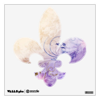 Fleur de Lis Lavender Cream Vines Wall Decal