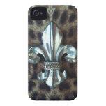 Fleur de-lis leopard print case iPhone 4 Case-Mate case