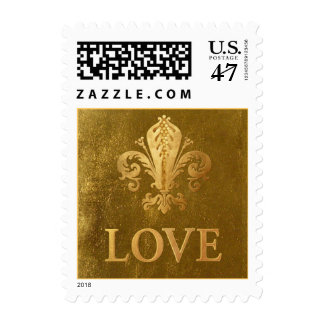 Fleur-de-lis Love  in Gold Tones. Postage