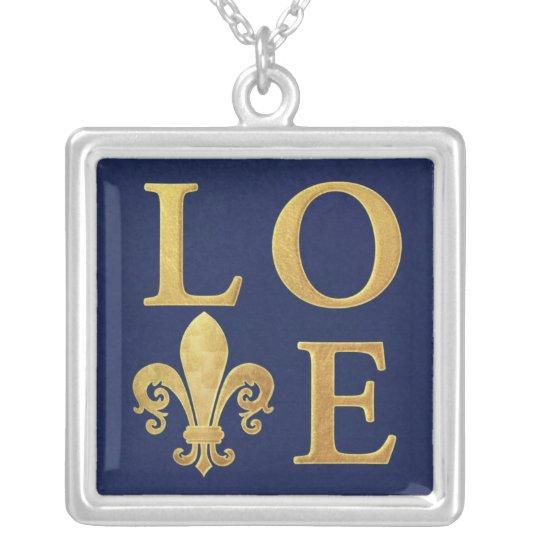 Fleur-de-lis love silver plated necklace