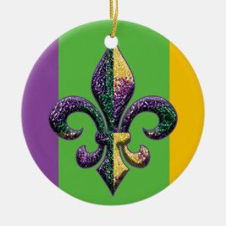 Fleur de lis Mardi Gras beads Christmas Tree Ornaments